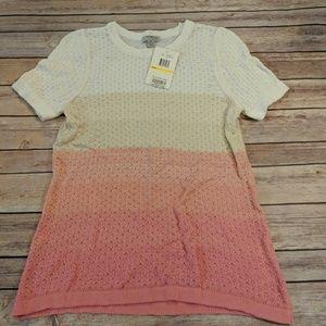 NWT Pink Short Sleeve Sweater Top Medium